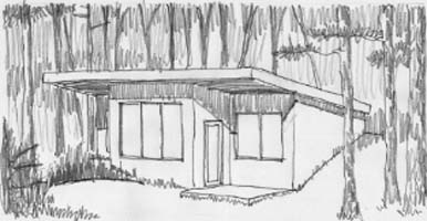 A sketch of our demonstration cabin in Murphy, North Carolina