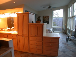 The cabinet between the master bedroom and bathroom