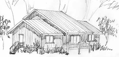 A sketch of the street view of this home