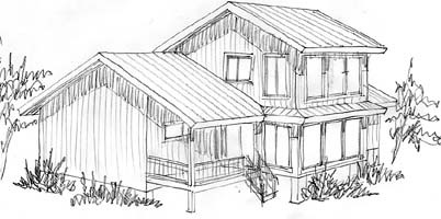 A sketch of the creek view of this home