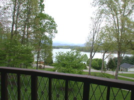 The porch view of the lake